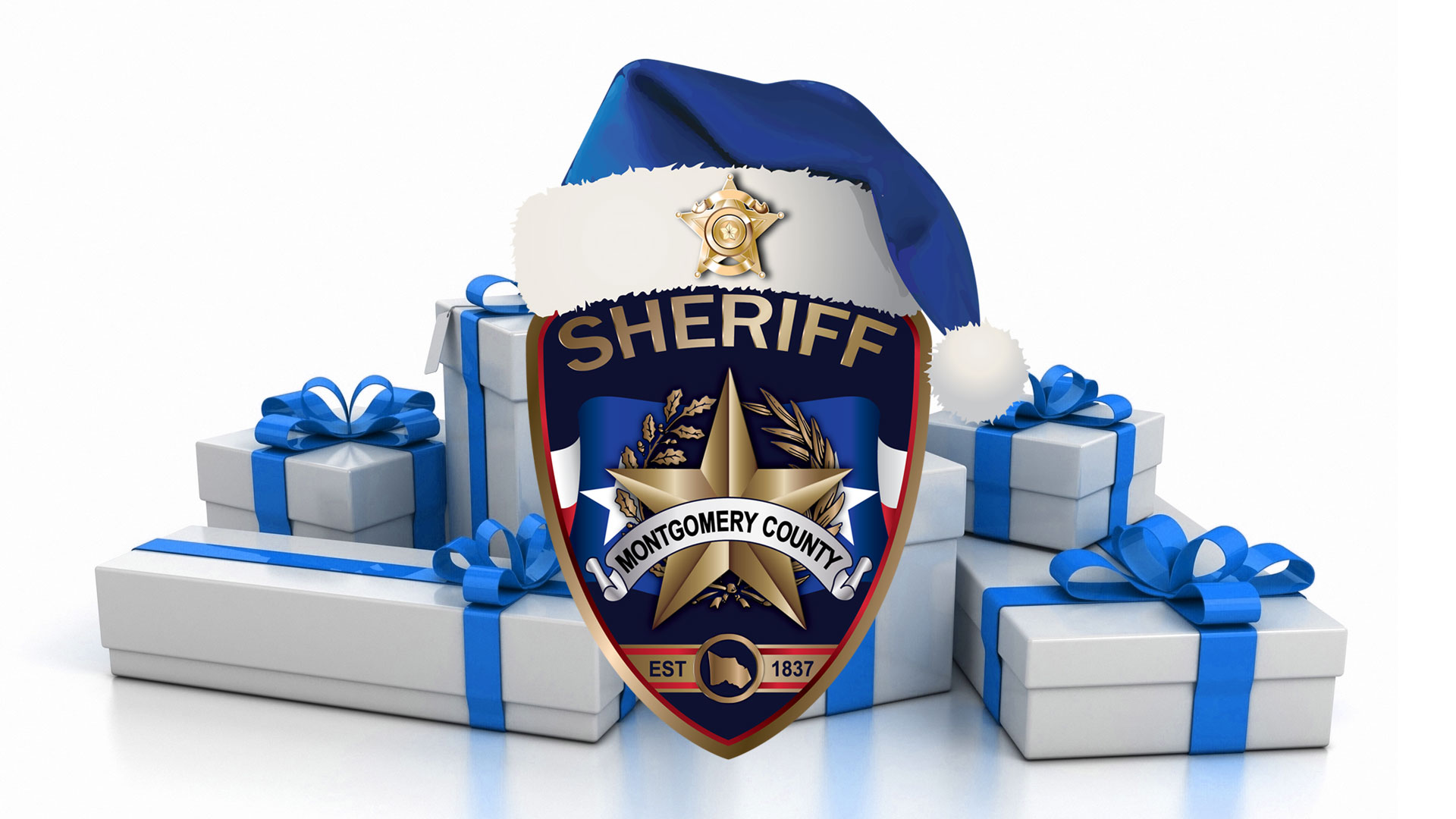 sheriff badge with blue santa hat